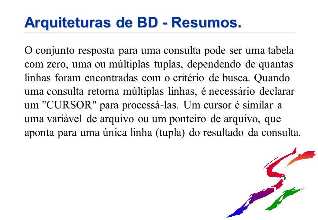 Arquiteturas de BD - Resumos. O conjunto resposta para uma consulta pode ser uma tabela com zero, uma ou múltiplas tuplas, dependendo de quantas linha