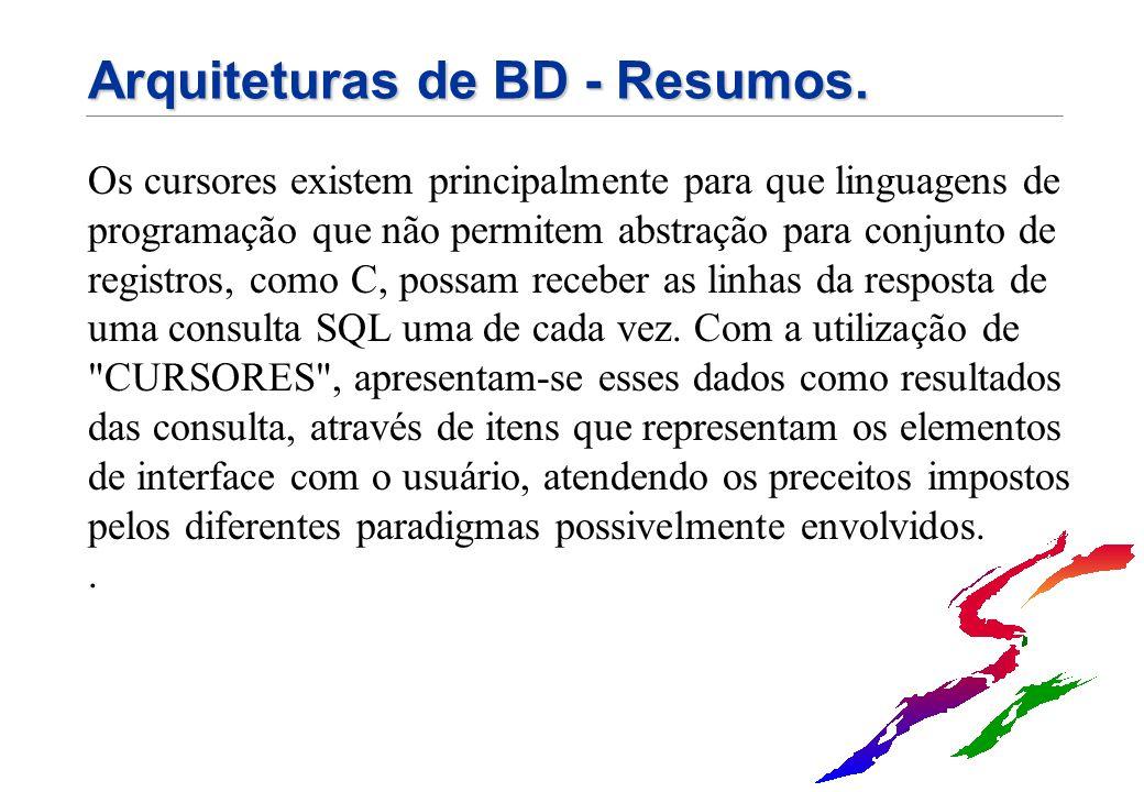 Arquiteturas de BD - Resumos. Os cursores existem principalmente para que linguagens de programação que não permitem abstração para conjunto de regist