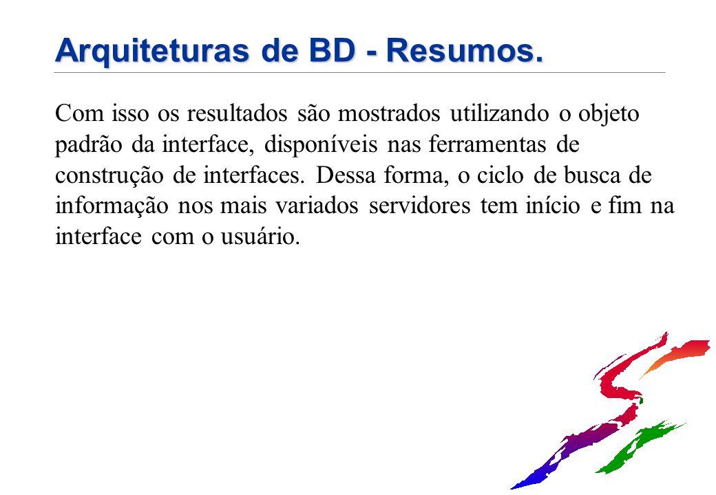Arquiteturas de BD - Resumos. Com isso os resultados são mostrados utilizando o objeto padrão da interface, disponíveis nas ferramentas de construção