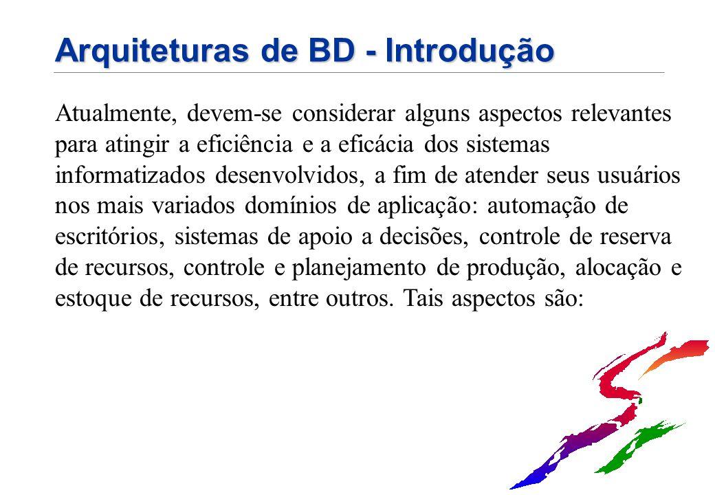 Arquiteturas de BD - Introdução Atualmente, devem-se considerar alguns aspectos relevantes para atingir a eficiência e a eficácia dos sistemas informa
