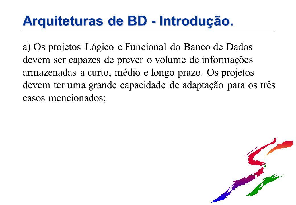 Arquiteturas de BD - Introdução. a) Os projetos Lógico e Funcional do Banco de Dados devem ser capazes de prever o volume de informações armazenadas a