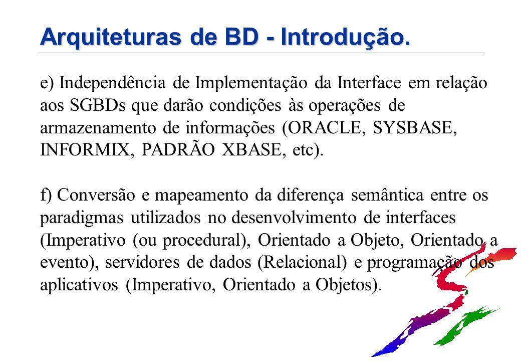 Arquiteturas de BD - Introdução. e) Independência de Implementação da Interface em relação aos SGBDs que darão condições às operações de armazenamento