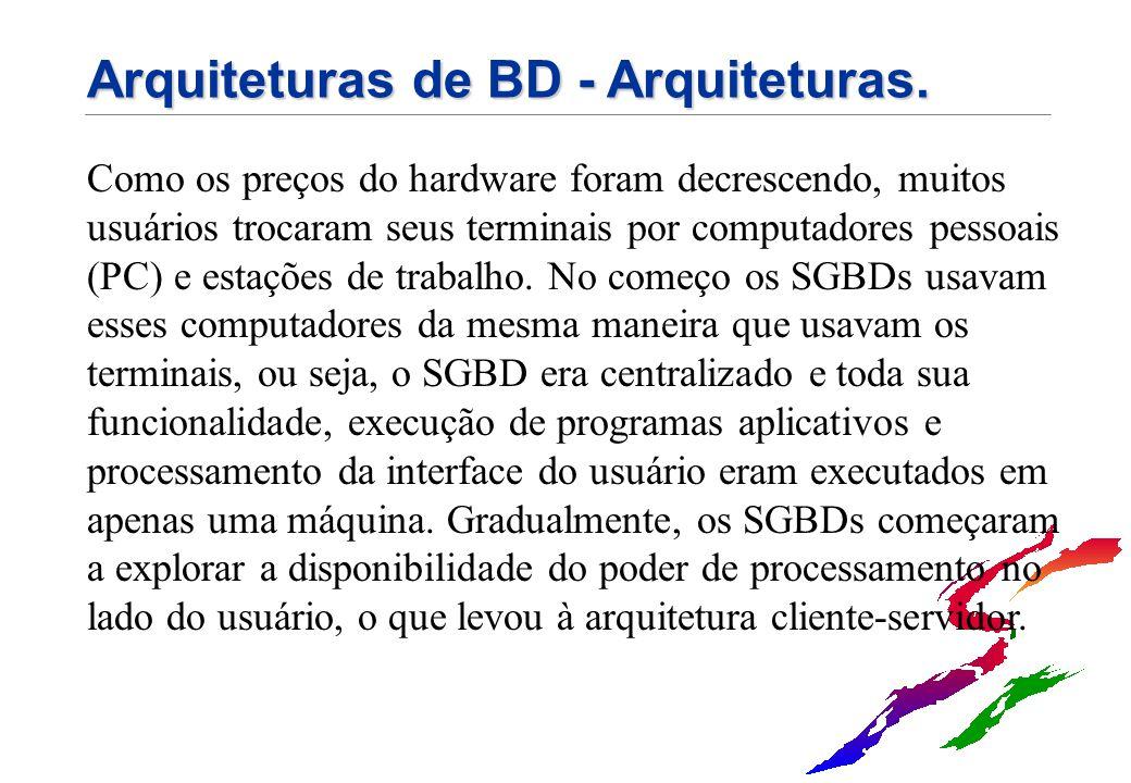 Arquiteturas de BD - Arquiteturas. Como os preços do hardware foram decrescendo, muitos usuários trocaram seus terminais por computadores pessoais (PC
