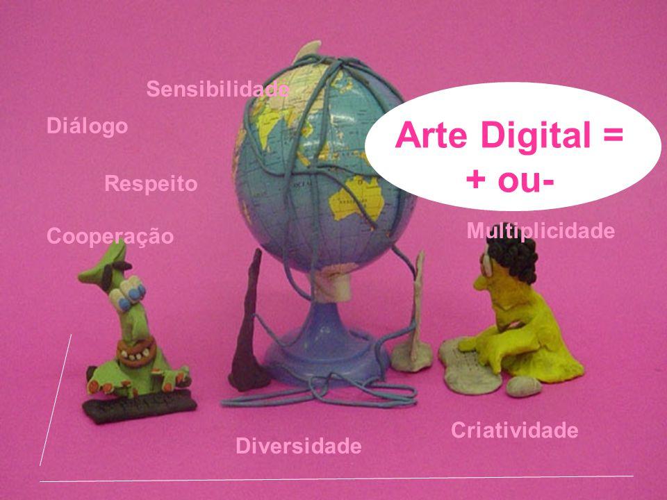 Arte Digital = + ou- Diálogo Respeito Sensibilidade Diversidade Criatividade Cooperação Multiplicidade