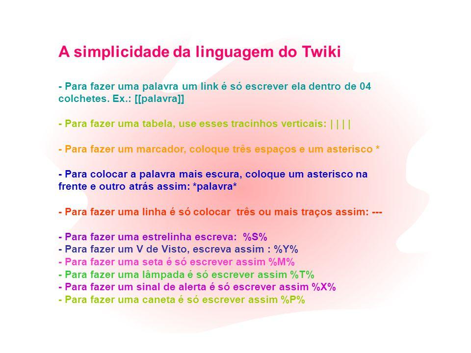 A simplicidade da linguagem do Twiki - Para fazer uma palavra um link é só escrever ela dentro de 04 colchetes.