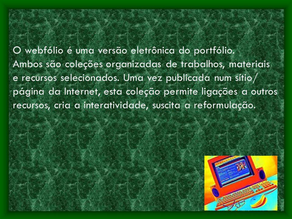 O webfólio é uma versão eletrônica do portfólio. Ambos são coleções organizadas de trabalhos, materiais e recursos selecionados. Uma vez publicada num