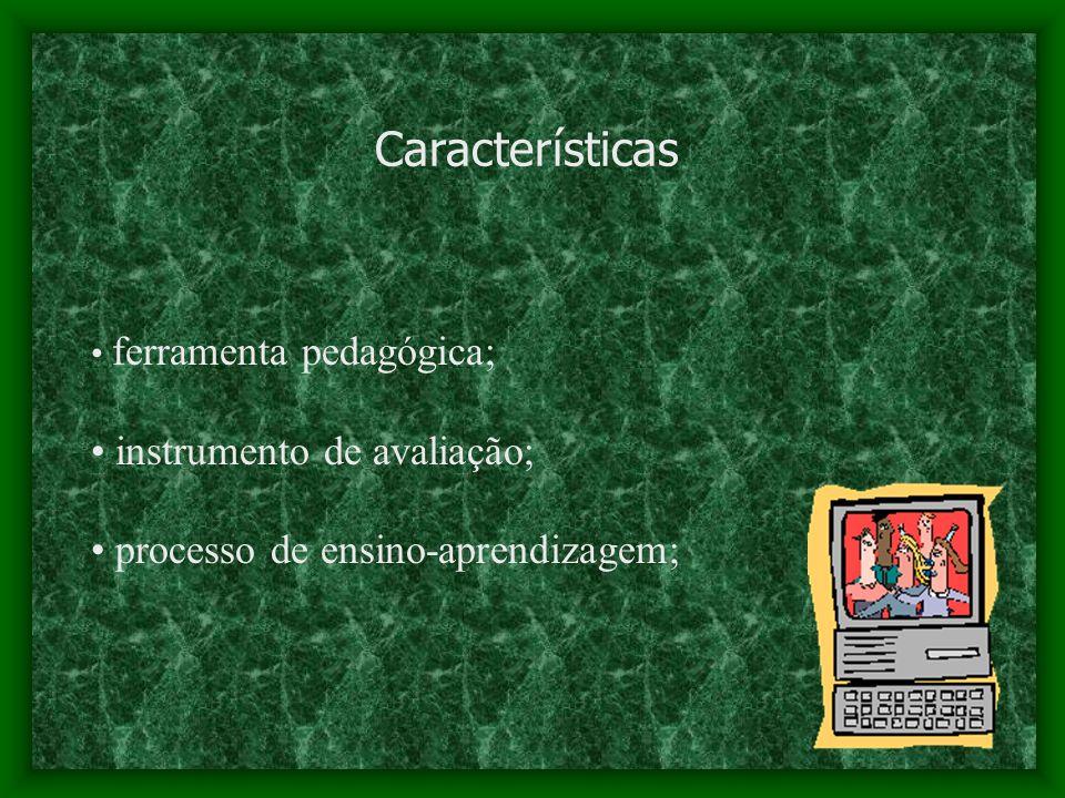 Características ferramenta pedagógica; instrumento de avaliação; processo de ensino-aprendizagem;
