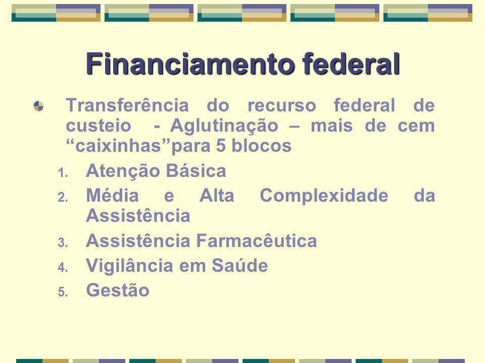 Financiamento federal Transferência do recurso federal de custeio - Aglutinação – mais de cem caixinhaspara 5 blocos 1. Atenção Básica 2. Média e Alta