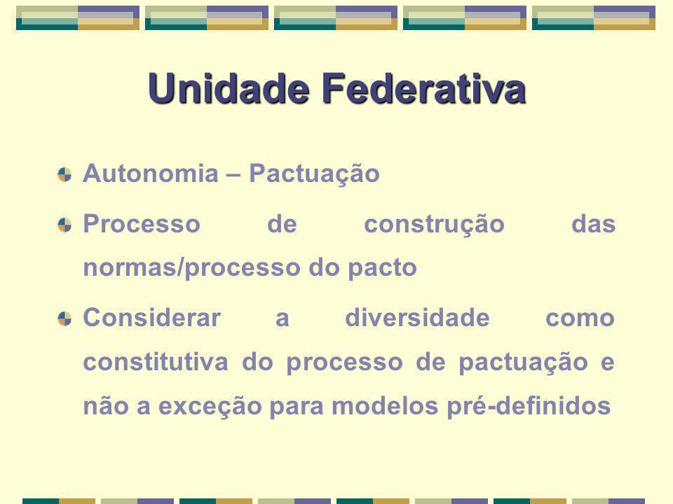 Unidade Federativa Autonomia – Pactuação Processo de construção das normas/processo do pacto Considerar a diversidade como constitutiva do processo de pactuação e não a exceção para modelos pré-definidos