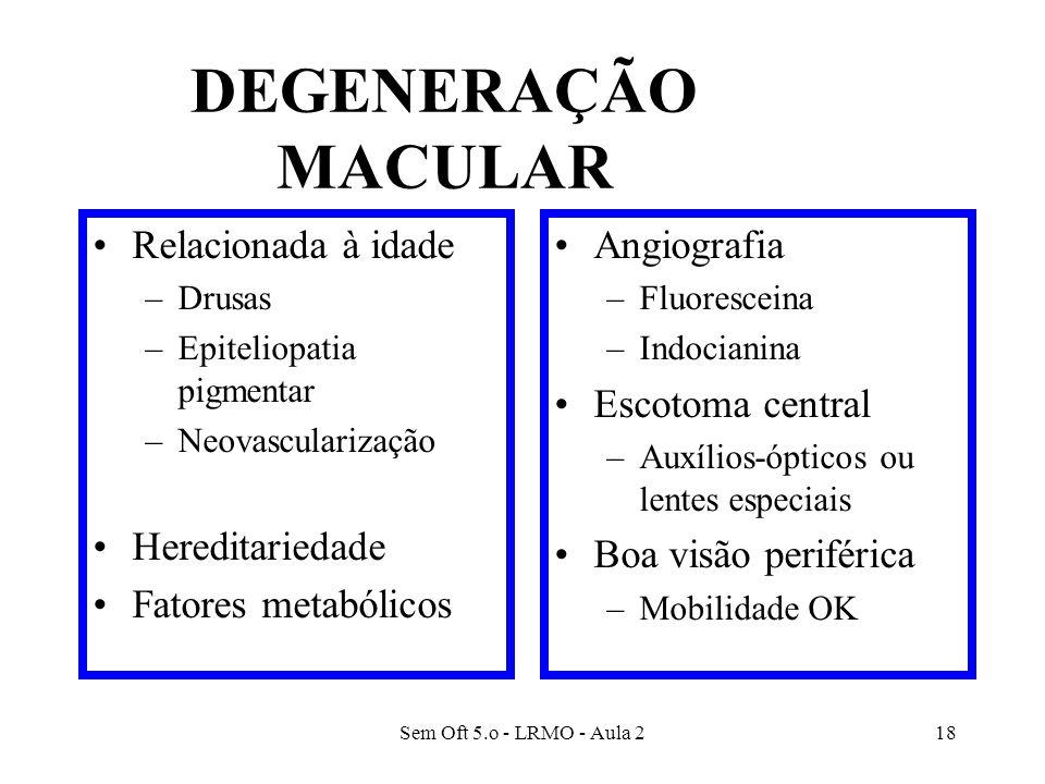 Sem Oft 5.o - LRMO - Aula 218 DEGENERAÇÃO MACULAR Relacionada à idade –Drusas –Epiteliopatia pigmentar –Neovascularização Hereditariedade Fatores meta