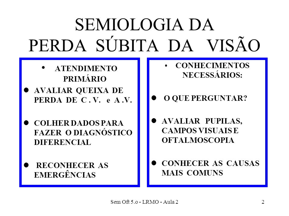 Sem Oft 5.o - LRMO - Aula 22 SEMIOLOGIA DA PERDA SÚBITA DA VISÃO ATENDIMENTO PRIMÁRIO lAVALIAR QUEIXA DE PERDA DE C. V. e A.V. lCOLHER DADOS PARA FAZE