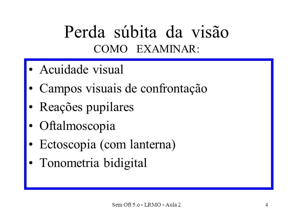 Sem Oft 5.o - LRMO - Aula 25 PERDA SÚBITA DA VISÃO Interpretação dos Achados - I Opacidade dos meios transparentes Edema de córnea Hifema Catarata Hemorragia vítrea