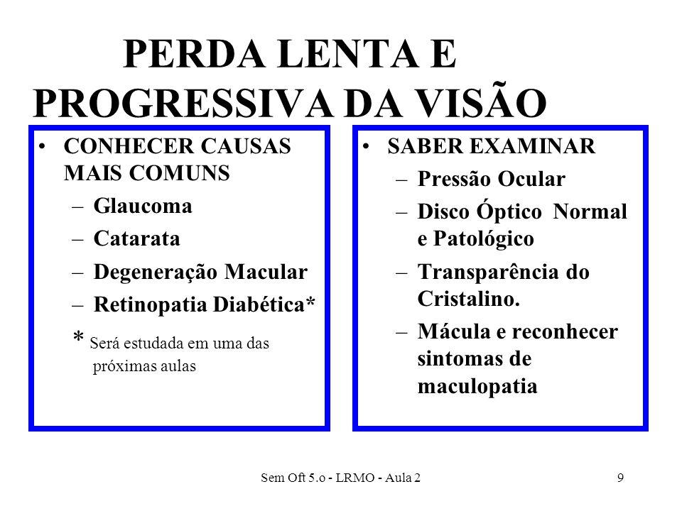 Sem Oft 5.o - LRMO - Aula 29 PERDA LENTA E PROGRESSIVA DA VISÃO CONHECER CAUSAS MAIS COMUNS –Glaucoma –Catarata –Degeneração Macular –Retinopatia Diab