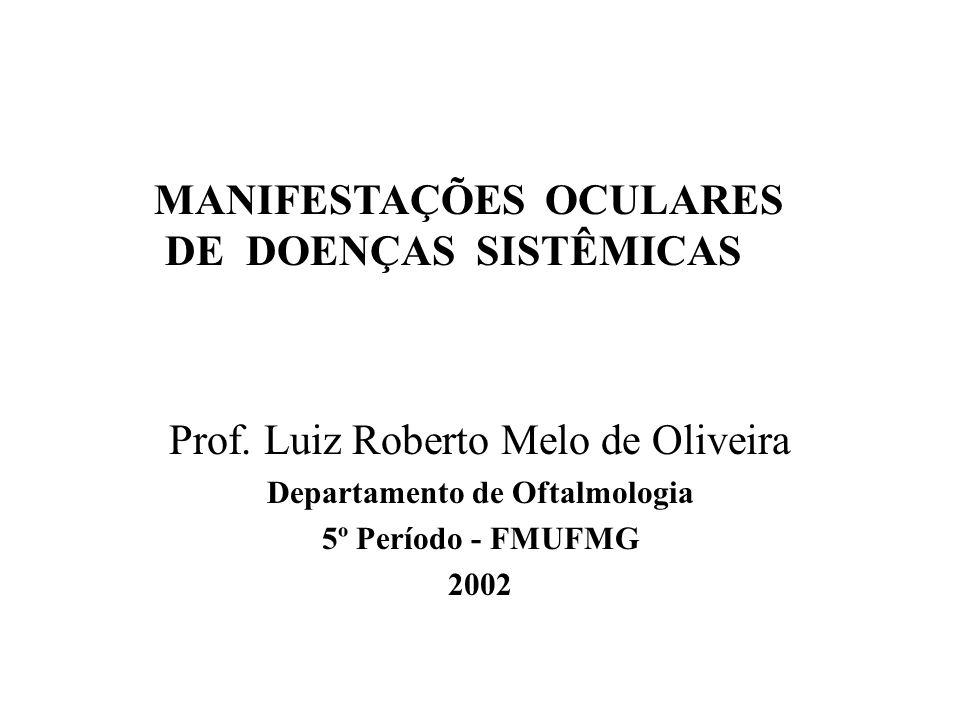 Prof. Luiz Roberto Melo de Oliveira Departamento de Oftalmologia 5º Período - FMUFMG 2002 MANIFESTAÇÕES OCULARES DE DOENÇAS SISTÊMICAS