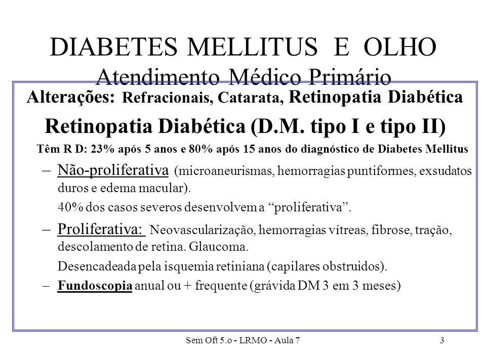 Sem Oft 5.o - LRMO - Aula 73 DIABETES MELLITUS E OLHO Atendimento Médico Primário Alterações: Refracionais, Catarata, Retinopatia Diabética Retinopati