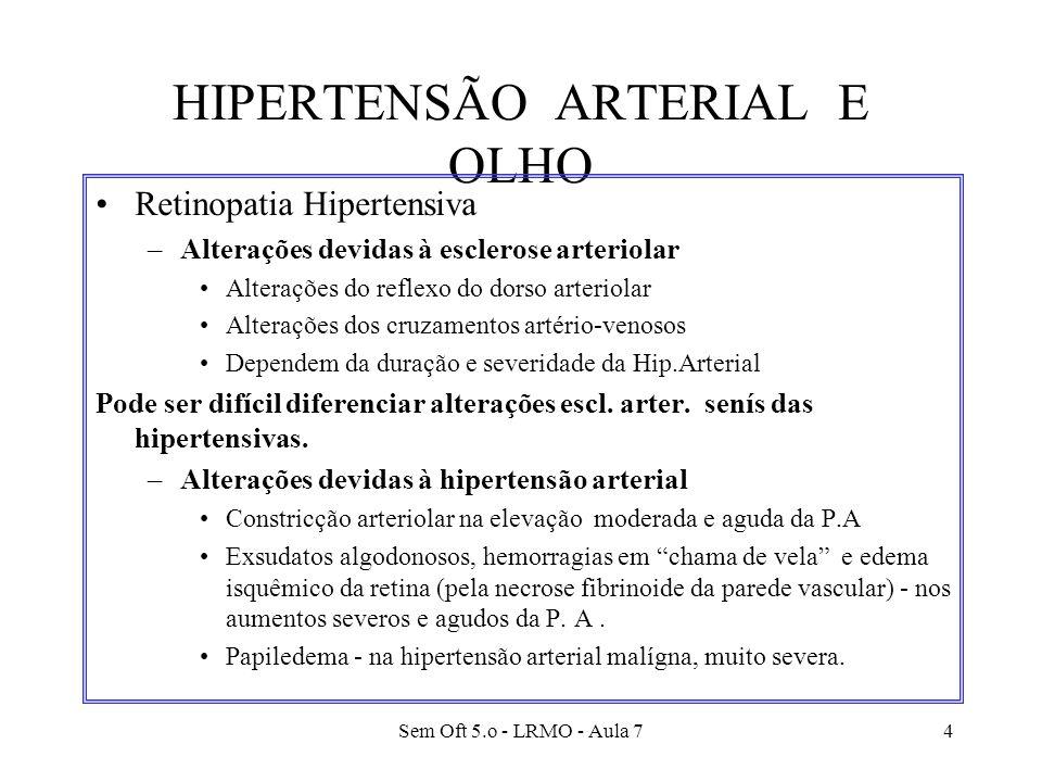 Sem Oft 5.o - LRMO - Aula 74 HIPERTENSÃO ARTERIAL E OLHO Retinopatia Hipertensiva –Alterações devidas à esclerose arteriolar Alterações do reflexo do