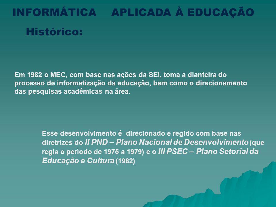 Em 1982 o MEC, com base nas ações da SEI, toma a dianteira do processo de informatização da educação, bem como o direcionamento das pesquisas acadêmicas na área.