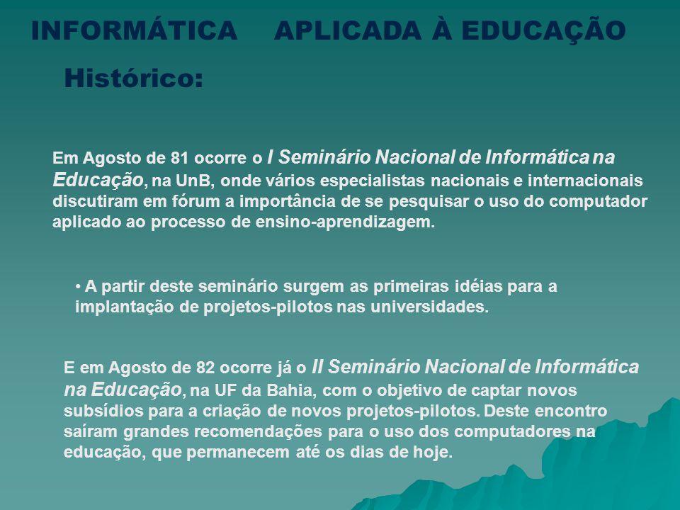 Em 1982 o MEC, com base nas ações da SEI, toma a dianteira do processo de informatização da educação, bem como o direcionamento das pesquisas acadêmic