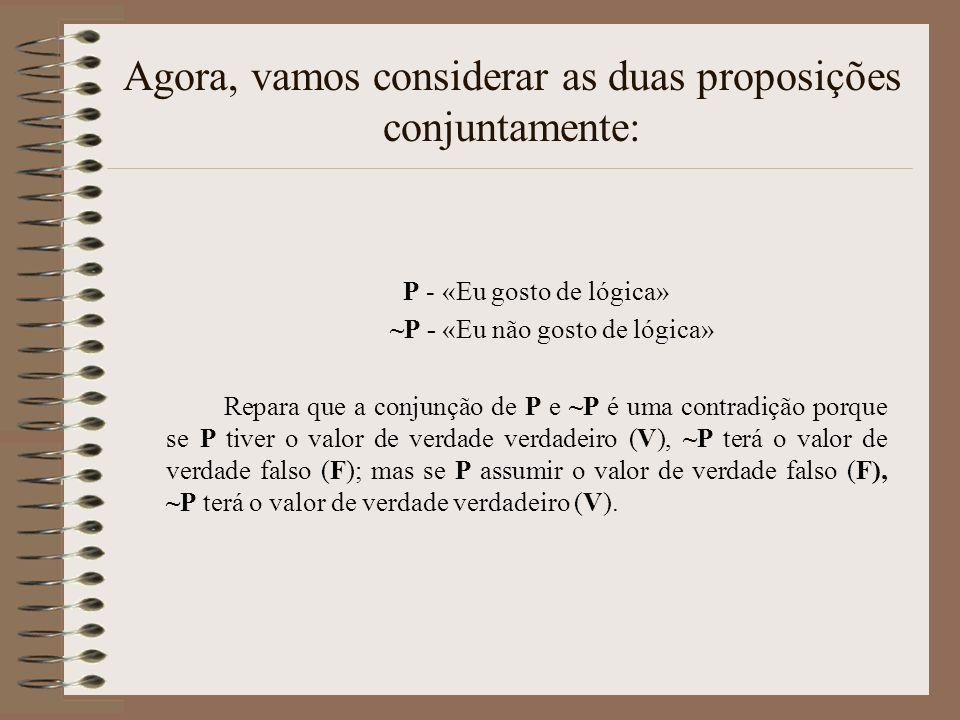 P - «Eu gosto de lógica» ~P - «Eu não gosto de lógica» Repara que a conjunção de P e ~P é uma contradição porque se P tiver o valor de verdade verdadeiro (V), ~P terá o valor de verdade falso (F); mas se P assumir o valor de verdade falso (F), ~P terá o valor de verdade verdadeiro (V).