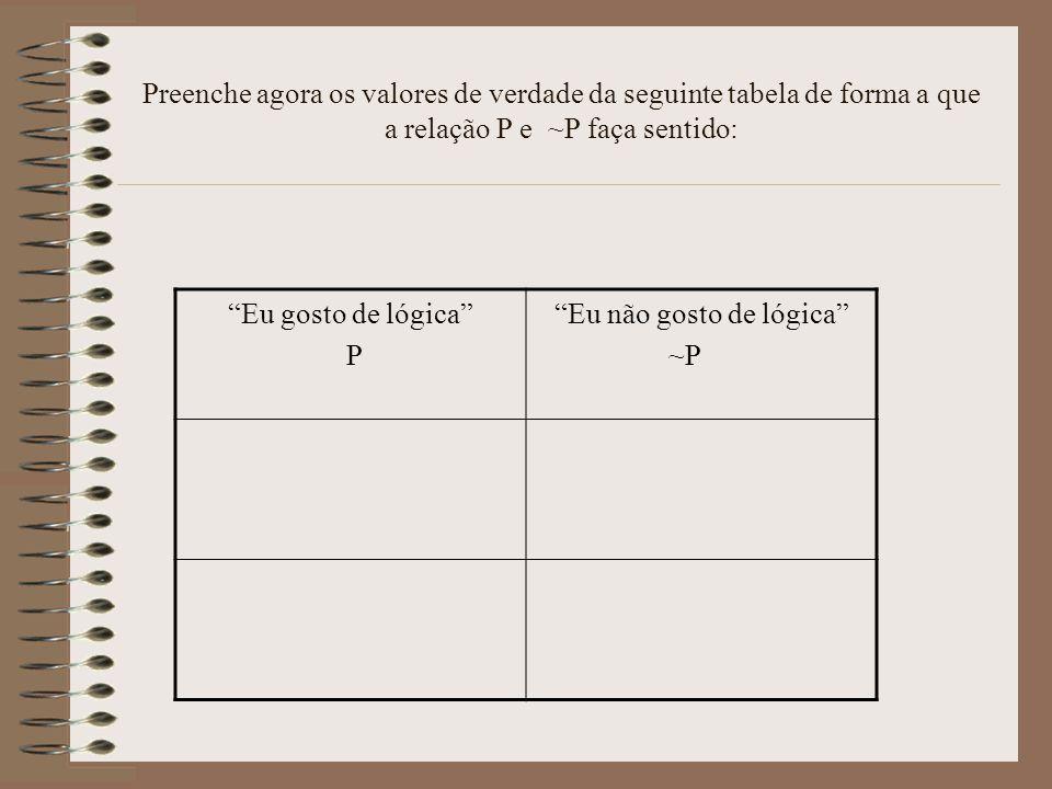 Preenche agora os valores de verdade da seguinte tabela de forma a que a relação P e ~P faça sentido: Eu gosto de lógica P Eu não gosto de lógica ~P