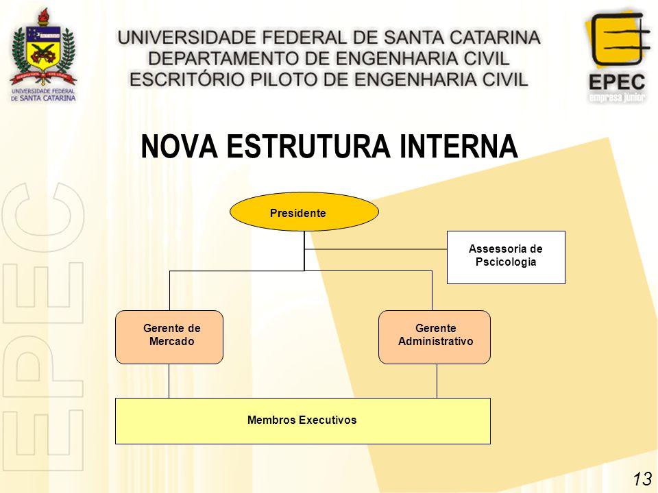 NOVA ESTRUTURA INTERNA 13 Presidente Membros Executivos Assessoria de Pscicologia Gerente de Mercado Gerente Administrativo