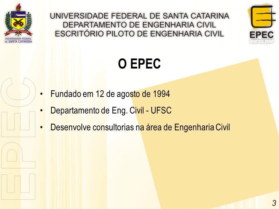Fundado em 12 de agosto de 1994 Departamento de Eng. Civil - UFSC Desenvolve consultorias na área de Engenharia Civil 3 O EPEC