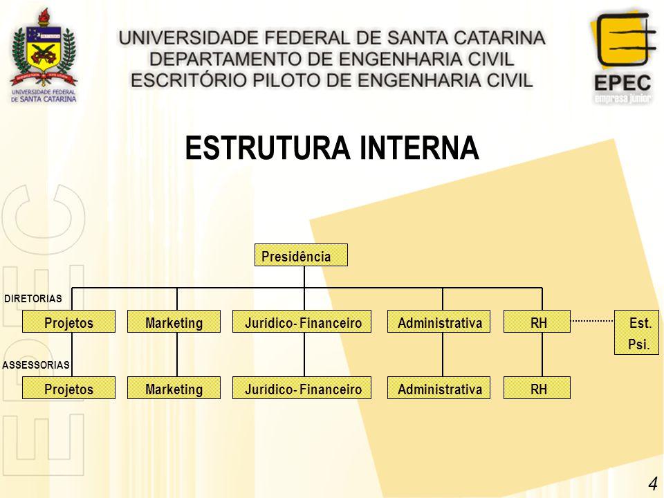 ESTRUTURA INTERNA Presidência Marketing Jurídico- FinanceiroAdministrativa RH 4 ProjetosMarketing Jurídico- FinanceiroAdministrativa Projetos DIRETORI