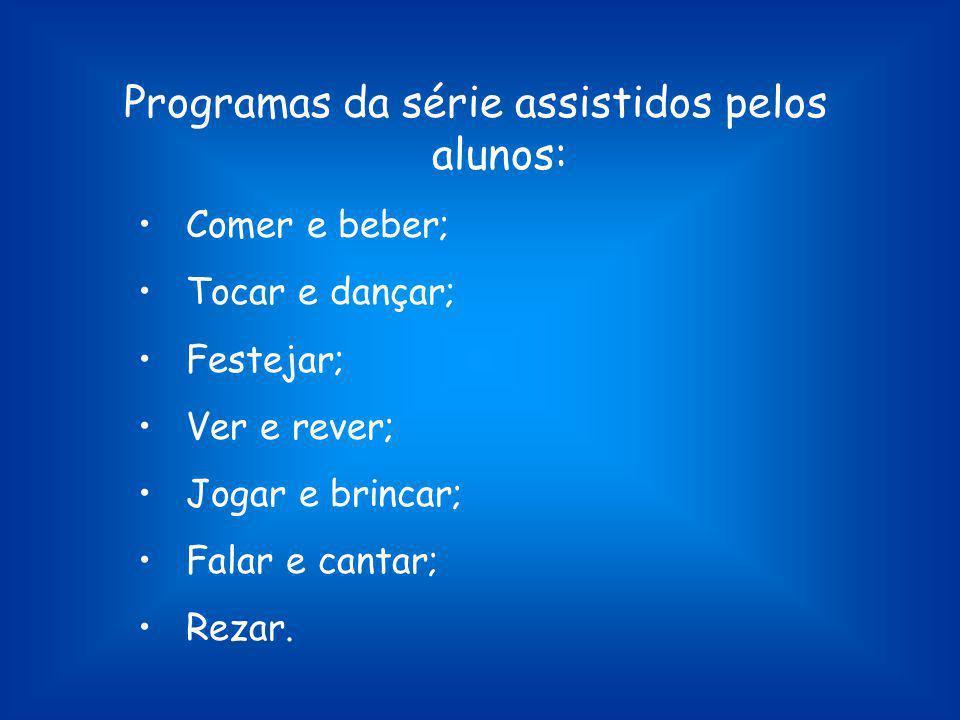 Programas da série assistidos pelos alunos: Comer e beber; Tocar e dançar; Festejar; Ver e rever; Jogar e brincar; Falar e cantar; Rezar.