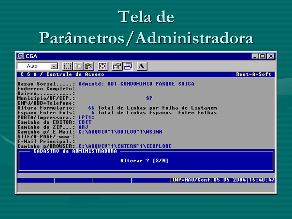Tela de Parâmetros/Administradora