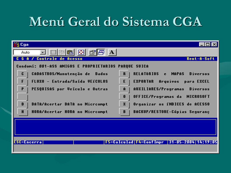 Menú Geral do Sistema CGA