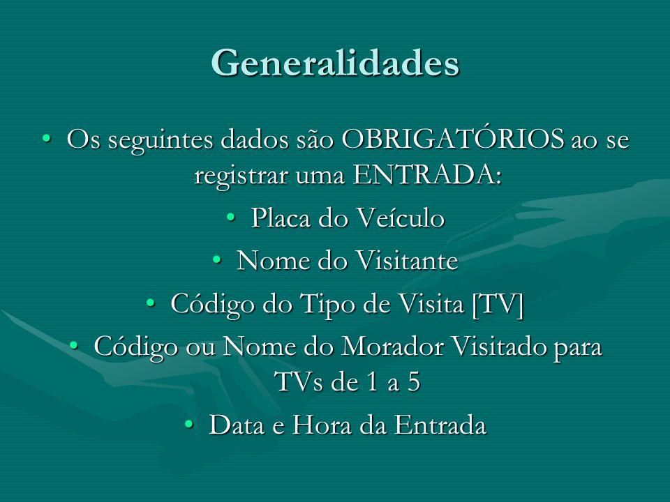 Generalidades Os seguintes dados são OBRIGATÓRIOS ao se registrar uma ENTRADA:Os seguintes dados são OBRIGATÓRIOS ao se registrar uma ENTRADA: Placa d