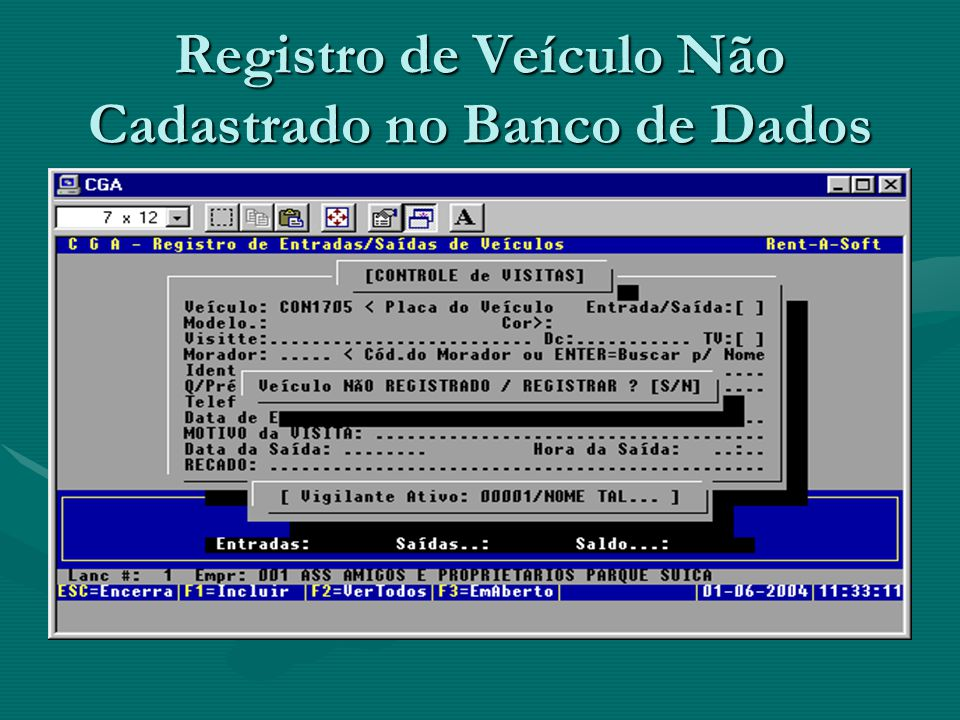 Registro de Veículo Não Cadastrado no Banco de Dados