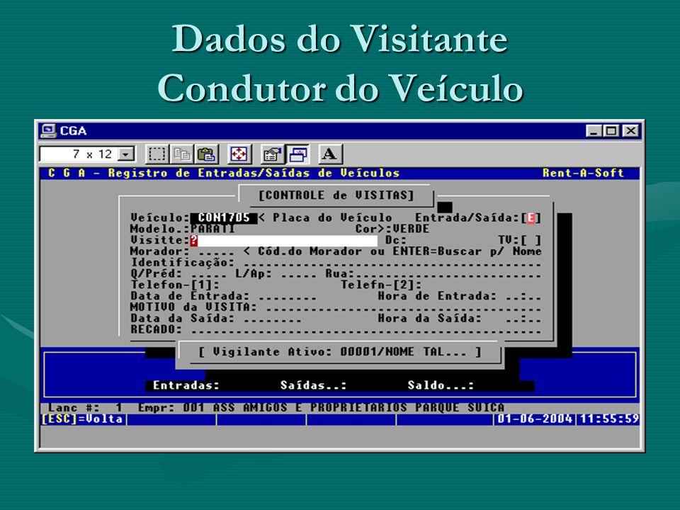 Dados do Visitante Condutor do Veículo