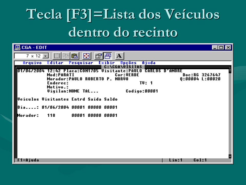 Tecla [F3]=Lista dos Veículos dentro do recinto