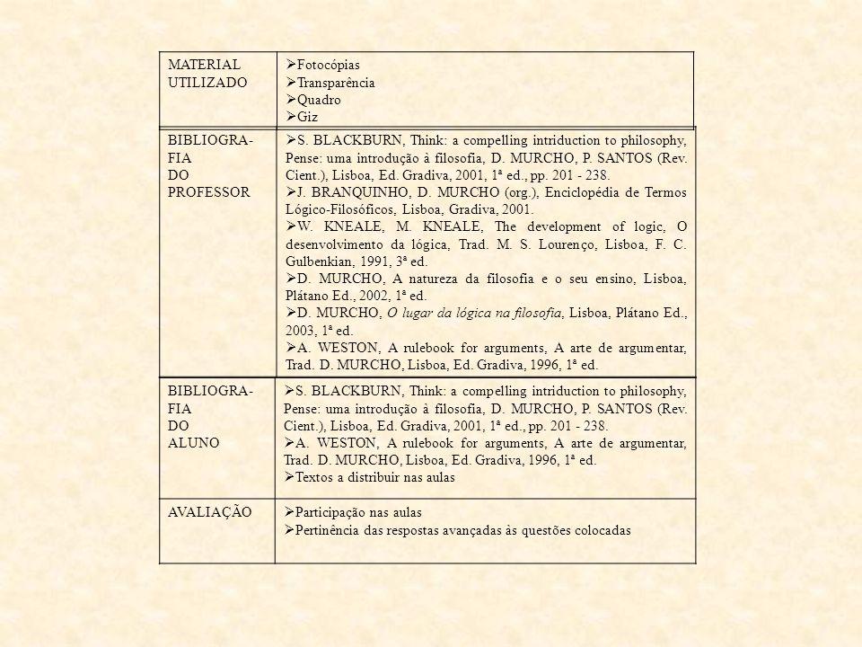 TEMA Introdução ao estudo da Lógica Proposicional N.º DE AULAS 6 aulas de 90' OBJECTIVOS GERAIS Reconhecer na lógica um instrumento fundamental para u