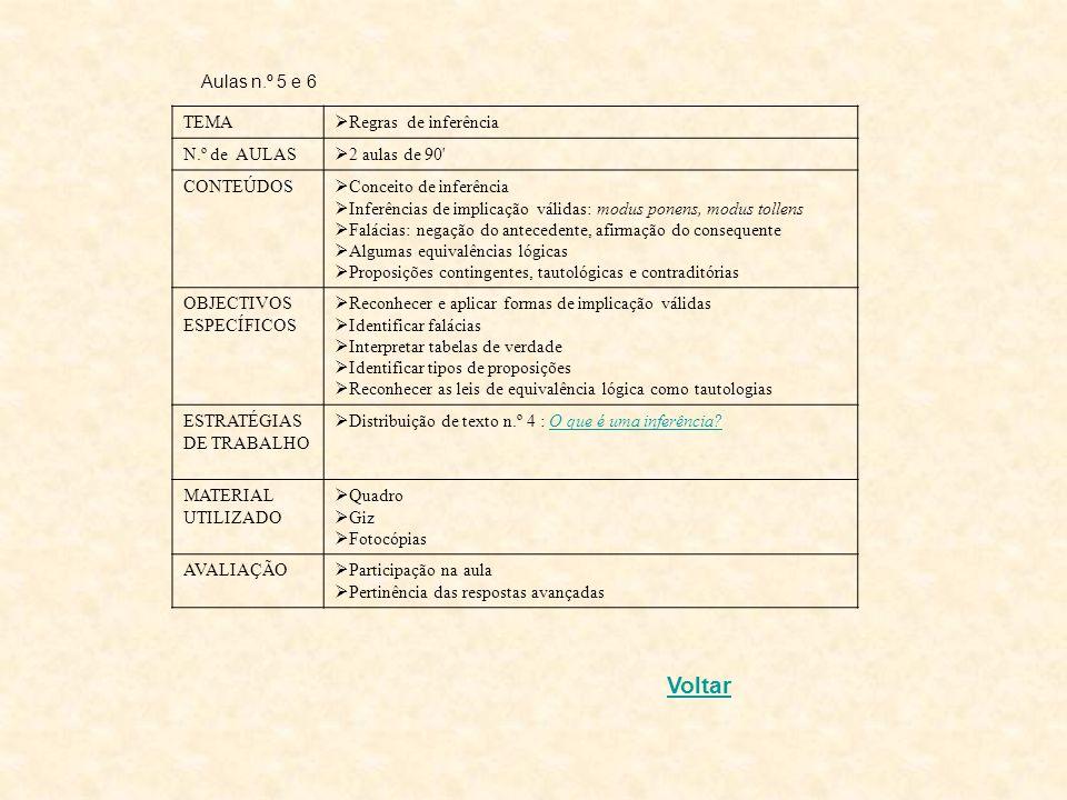 Aulas n.º 3 e 4 TEMA Tabelas de verdade das conectivas Nº de AULAS 2 aulas de 90 CONTEÚDOS Noção de valor de verdade Tabelas de verdade OBJECTIVOS ESP