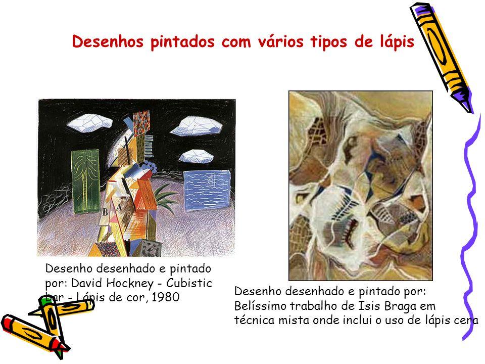 Desenhos pintados com vários tipos de lápis Desenho desenhado e pintado por: David Hockney - Cubistic bar - Lápis de cor, 1980 Desenho desenhado e pin