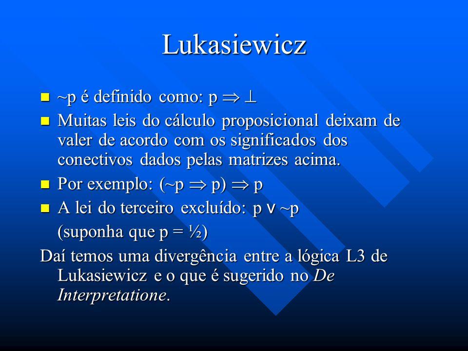Lukasiewicz A partir dessas matrizes (p & q) é equivalente a: A partir dessas matrizes (p & q) é equivalente a: ~ (~p v ~q) ~ (~p v ~q) Podemos ainda