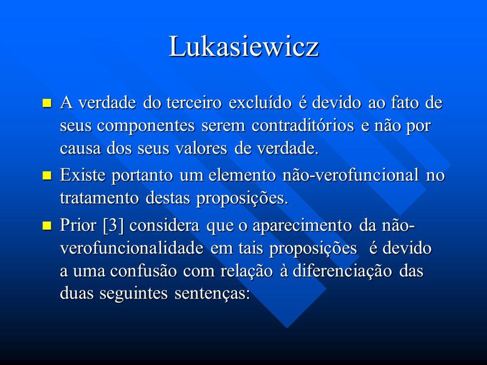 Lukasiewicz ~p é definido como: p ~p é definido como: p Muitas leis do cálculo proposicional deixam de valer de acordo com os significados dos conecti
