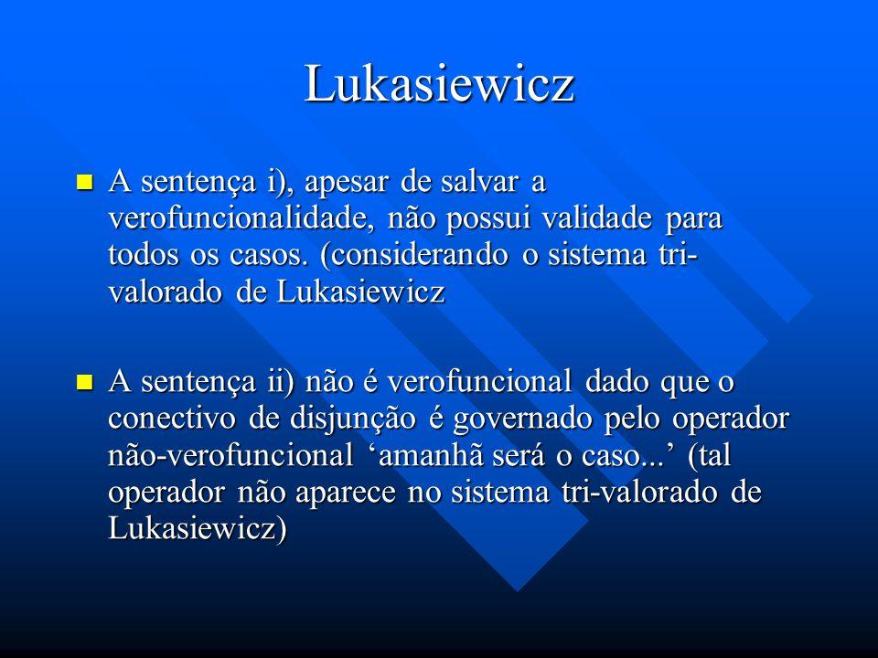 Lukasiewicz i) Haverá ou não haverá uma batalha naval amanhã é verdadeira de acordo com regras verofuncionais, somente quando pelo menos uma das duas