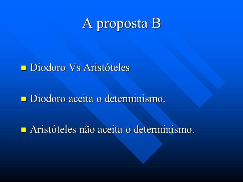A proposta B Bivalência: Bivalência: só o discurso no qual reside o verdadeiro e o falso é um discurso veritativo. (De Interpretatione, IV 16b33-17a7)