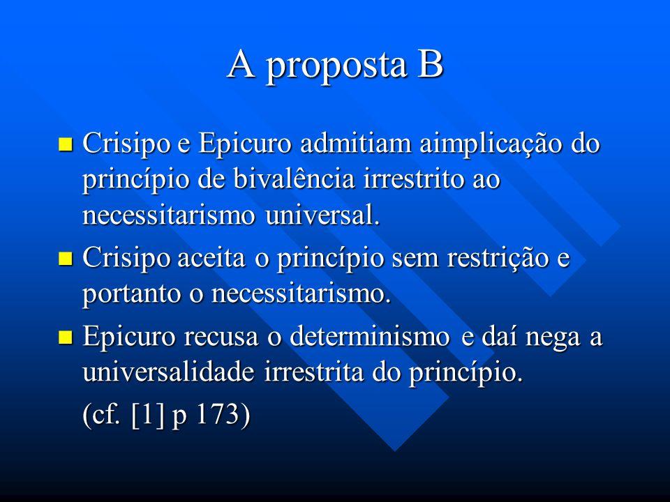A proposta B Muitos interpretes consideram que Aristóteles não pode refutar o determinismo lógico sem limitar a validade irrestrita do princípio de bi