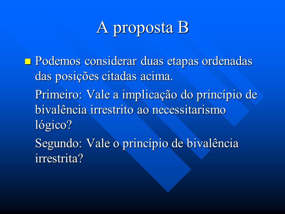 A proposta B Crisipo e Epicuro admitiam aimplicação do princípio de bivalência irrestrito ao necessitarismo universal. Crisipo e Epicuro admitiam aimp