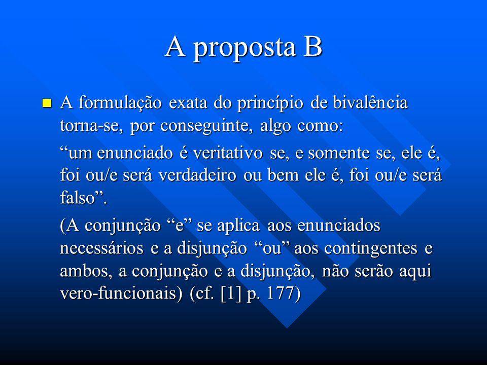 A proposta B O verbo ser, flexionado como por exemplo na expressão X é verdadeiro ou falso, pode significar o tempo presente ou o presente omnitempora