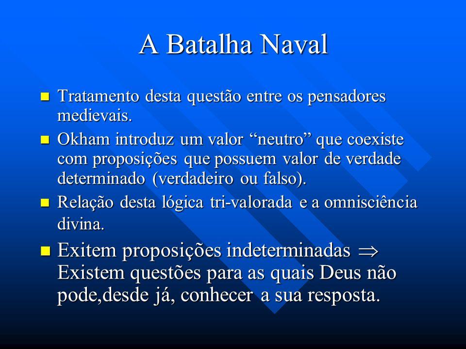 A Batalha Naval Embora nenhuma das partes da disjunção seja, agora, verdadeira ou falsa, o conjunto inteiro desta disjunção (haverá ou não haverá uma