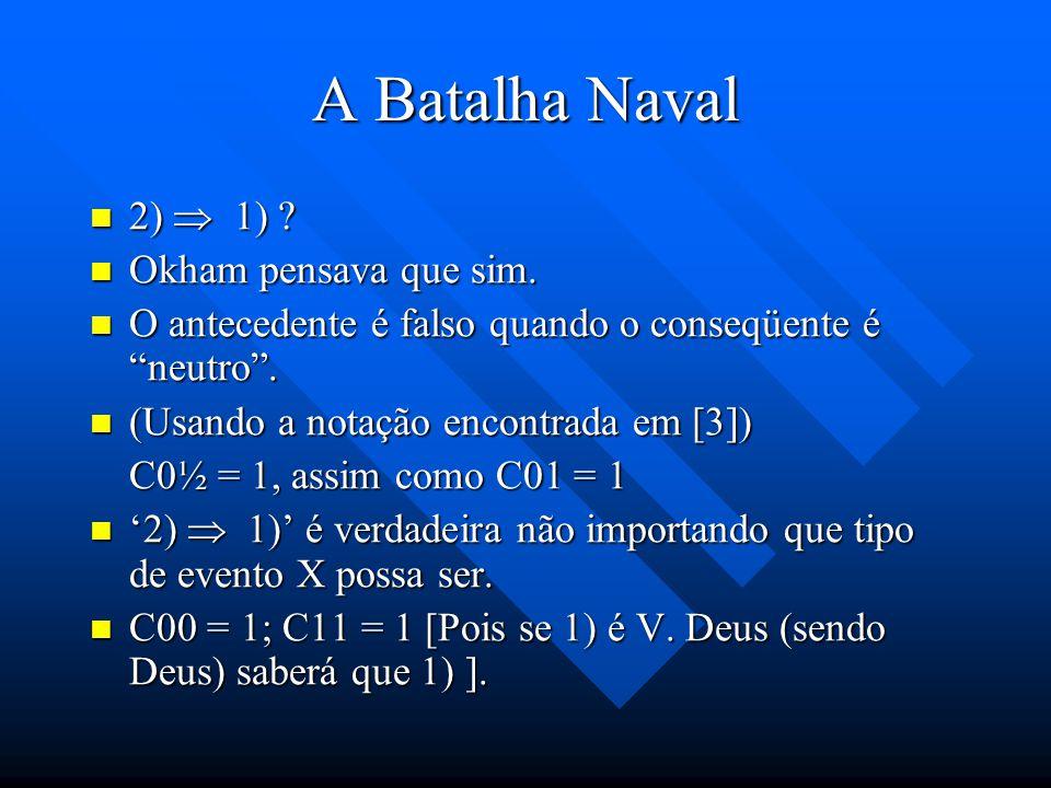 A Batalha Naval Considere as seguintes proposições: Considere as seguintes proposições: 1) X acontecerá 2) Deus sabe que X acontecerá (Deus sabe que 1