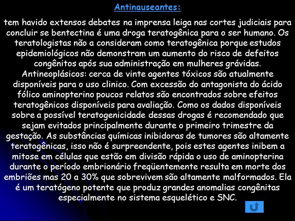 Antinauseantes: tem havido extensos debates na imprensa leiga nas cortes judiciais para concluir se bentectina é uma droga teratogênica para o ser hum