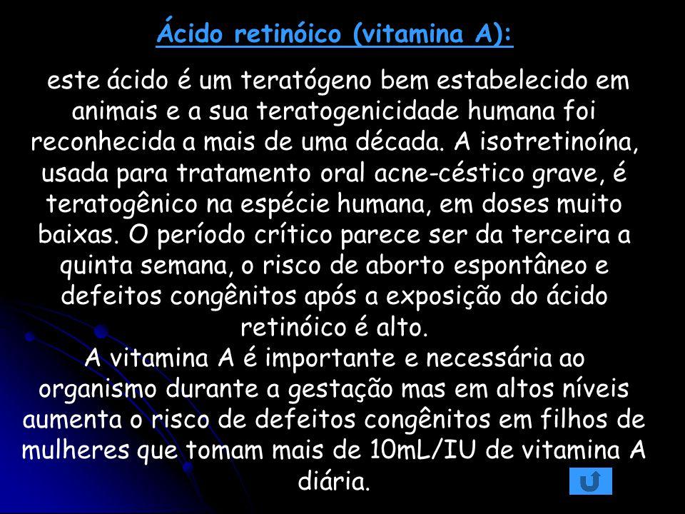Ácido retinóico (vitamina A): este ácido é um teratógeno bem estabelecido em animais e a sua teratogenicidade humana foi reconhecida a mais de uma déc