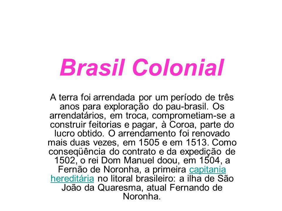 Brasil Colonial A terra foi arrendada por um período de três anos para exploração do pau-brasil. Os arrendatários, em troca, comprometiam-se a constru
