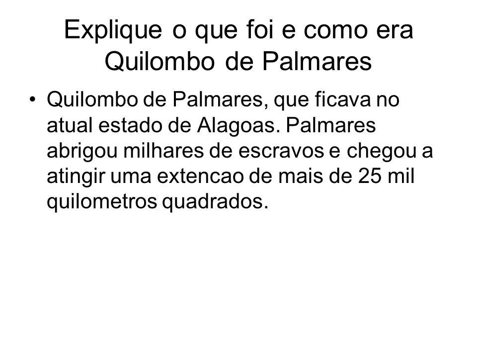 Explique o que foi e como era Quilombo de Palmares Quilombo de Palmares, que ficava no atual estado de Alagoas. Palmares abrigou milhares de escravos